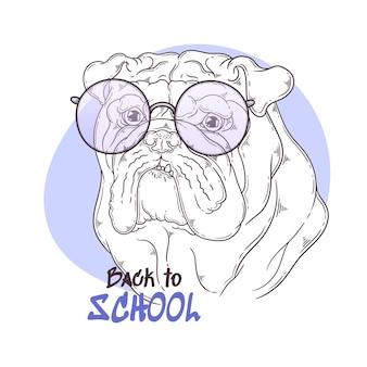 Ritratto di bulldog disegnato a mano con accessori