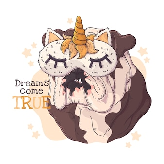 Bulldog disegnato a mano con maschera per dormire