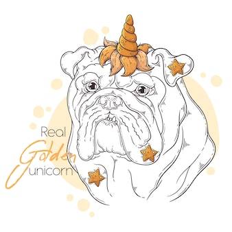 Bulldog disegnato a mano con corno di unicorno