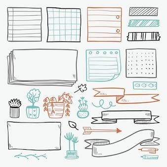 Insieme di elementi del diario di proiettile disegnato a mano