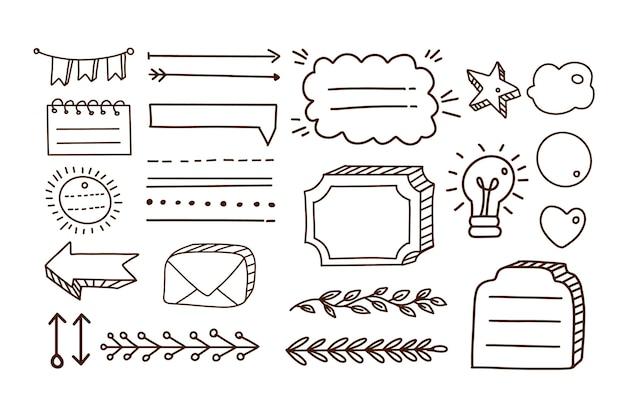 Elementi del diario proiettile disegnati a mano