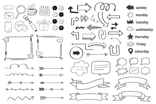 Elementi del diario di proiettile disegnati a mano