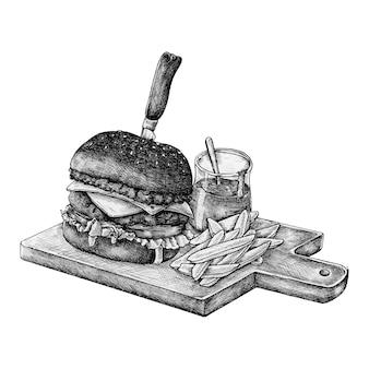 Hamburger e patatine disegnati a mano