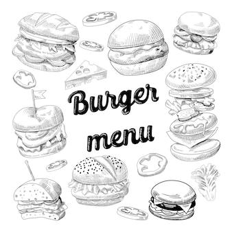 Hamburger disegnati a mano sulla lavagna