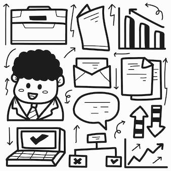 Disegno di doodle del fumetto di affari disegnati a mano