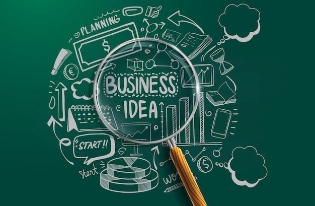 Icona di affari disegnata a mano e molti elementi di progettazione grafica di informazioni e mock up. ideale per idee di lavoro di squadra, sessioni di brainstorming e presentazioni di piani aziendali generici.