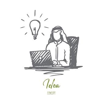 Uomo d'affari disegnato a mano che lavora con l'abbozzo di concetto del computer portatile.