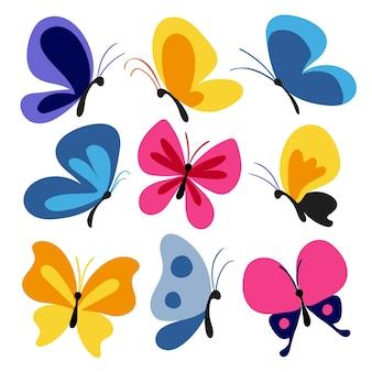 Set di farfalle disegnate a mano