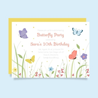 Modello di invito di compleanno farfalla disegnata a mano