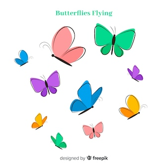 Collezione di farfalle disegnate a mano