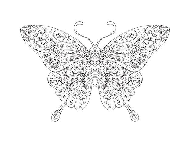 Stile zentangle farfalla disegnata a mano per colorare