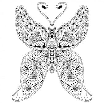 Disegnato a mano di farfalla in stile zentangle