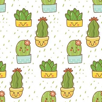 Reticolo senza giunte di cactus disegnato a mano