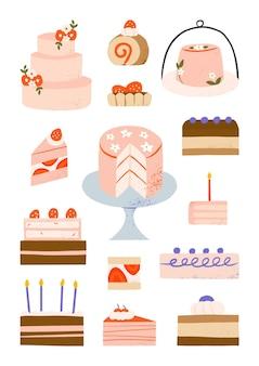 Illustrazione disegnata a mano di arte del fumetto degli elementi della panetteria e della pasticceria della decorazione della torta