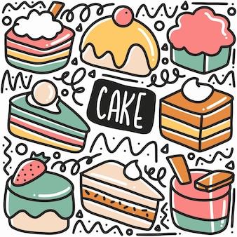 Doodle di torta disegnata a mano con icone ed elementi di design