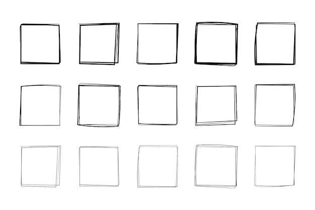 Quadrati calligrafici disegnati a mano cornici in linea retta per i disegni
