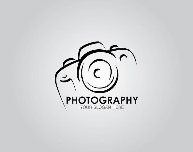 Disegnato a mano del modello di progettazione dell'icona del logo della fotografia della fotocamera