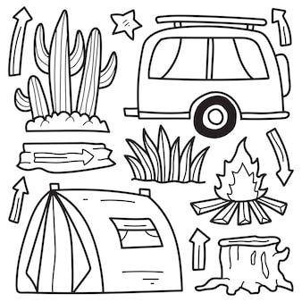 Disegno da colorare cartone animato scarabocchio camper disegnato a mano