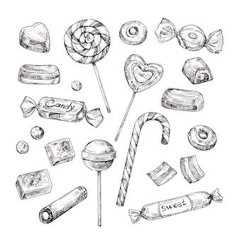 Caramelle disegnate a mano caramelle al cioccolato, lecca lecca e marmellata, dolci. set di schizzi d'epoca