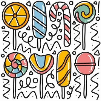 Doodle di caramelle disegnate a mano con icone ed elementi di design