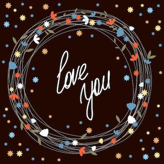 Modello di carta disegnata a mano. tema d'amore per il matrimonio o il giorno di san valentino.