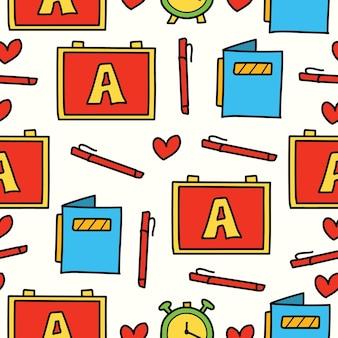Cartone animato disegnato a mano torna a scuola doodle design pattern