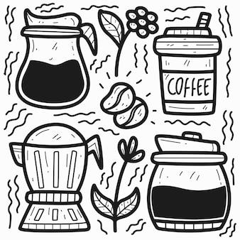Disegno sveglio del disegno di scarabocchio del caffè del fumetto disegnato a mano