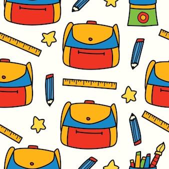 Scarabocchio del fumetto disegnato a mano di nuovo alla progettazione del modello della scuola