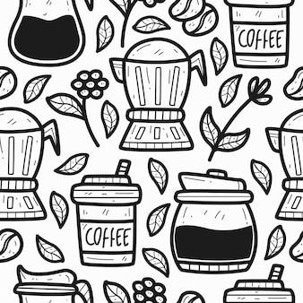 Disegno del modello del disegno del caffè di doodle del fumetto disegnato a mano