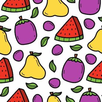 Disegno disegnato a mano del modello della frutta di scarabocchio del fumetto disegnato a mano