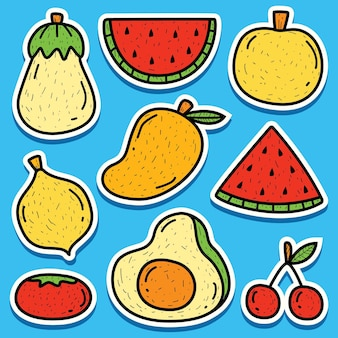 Disegno dell'autoadesivo della frutta di doodle del fumetto disegnato a mano