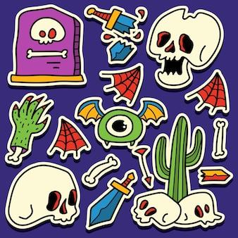 Disegno dell'autoadesivo di halloween scarabocchio del fumetto disegnato a mano