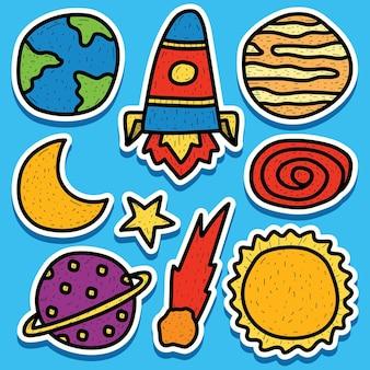 Disegno dell'autoadesivo del pianeta di doodle del fumetto disegnato a mano