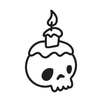 Cranio di doodle del fumetto disegnato a mano. cranio divertente del fumetto isolato su priorità bassa bianca. illustrazione vettoriale.
