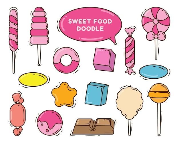 Raccolta di cibo dolce di doodle del fumetto disegnato a mano