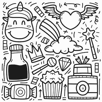 Disegno di unicon di doodle del fumetto disegnato a mano