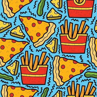 Disegno disegnato a mano del modello di scarabocchio dell'alimento del fumetto