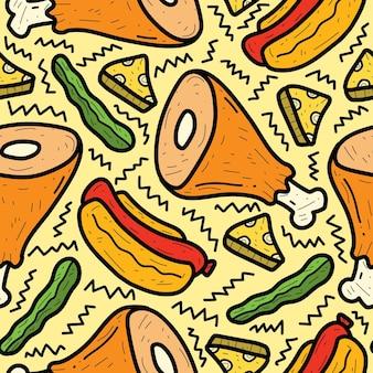 Modello di doodle di cibo del fumetto disegnato a mano