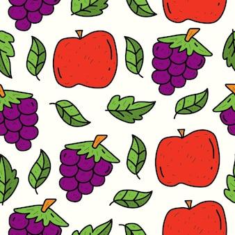 Disegno del modello senza cuciture di kawaii di scarabocchio della frutta del fumetto disegnato a mano