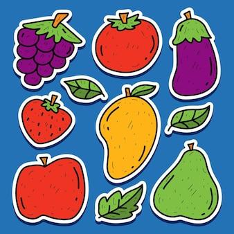Disegno dell'autoadesivo di scarabocchio di kawaii della frutta del fumetto disegnato a mano