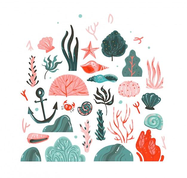 Collezione d'arte grafica di illustrazioni subacquee disegnate a mano del fumetto estate insieme con barriere coralline, alghe, stelle marine, granchi, ancoraggio, pietre e conchiglie isolati