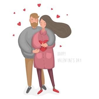 Cartolina di illustrazioni di felice giorno di san valentino del fumetto disegnato a mano con coppie di persone insieme. vettore eps10.
