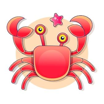 Illustrazione disegnata a mano del fumetto di un simpatico personaggio sorridente felice di granchio, sollevando artigli, isolato
