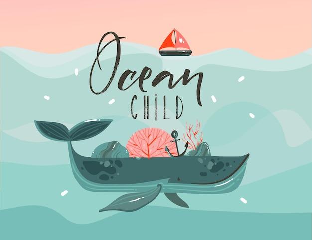 Illustrazione di cartone animato disegnato a mano con balena di bellezza nelle onde dell'oceano, vela, scena del tramonto e citazione di ocean child