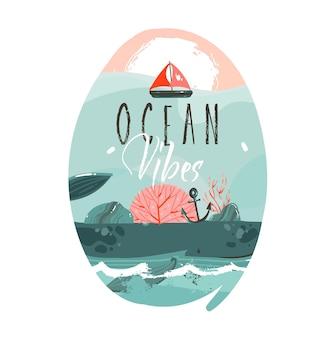 Illustrazione disegnata a mano del fumetto con il paesaggio della spiaggia dell'oceano, la grande balena, la scena del tramonto e il testo di vibrazioni dell'oceano