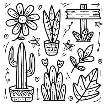 Disegno di doodle di pianta del fumetto disegnato a mano