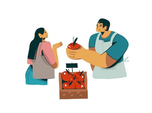 Personaggio dei cartoni animati disegnati a mano del venditore