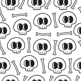 Reticolo di doodle del cranio del fumetto disegnato a mano