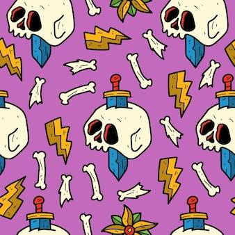 Illustrazione disegnata a mano del modello del cranio del fumetto