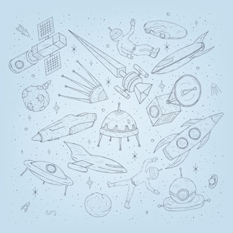 Pianeti spaziali del fumetto disegnato a mano, navette, razzi, satelliti, cosmonauta e altri elementi